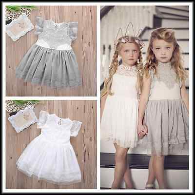 New Flower Girls Kids Baby Short Sleeve Lace Princess Party Wedding Lace Floral Tulle Tutu Dresses