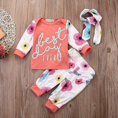 Newborn Girls Floral Clothing Sets Spring Kids Baby Girl Long Sleeve Tops Long Pants Headband Outfit Set Clothes