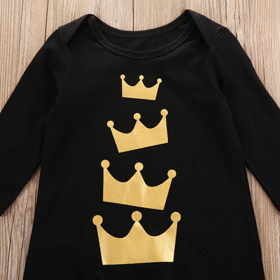 Newborn Baby Girls Boys Long Sleeve Crown Print Romper Jumpsuit Clothes fashion baby boys clothes newborn