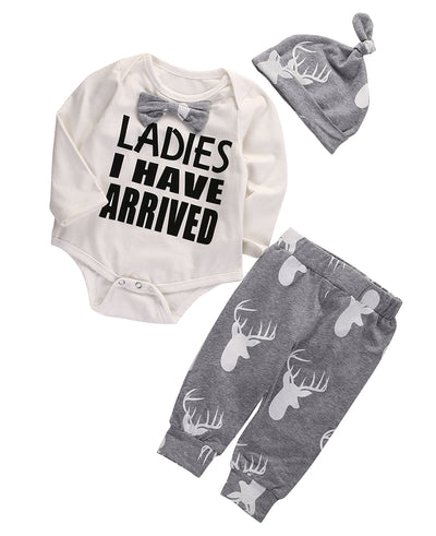 Autumn style infant clothes baby clothing sets Baby Girl Boy Romper+Deer Long Pants Hat 3pcs Outfits Set Clothes