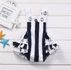 born Kids Baby Girl Clothes vertical Striped Anchor Romper Jumpsuit Sun suit lacework Outfits