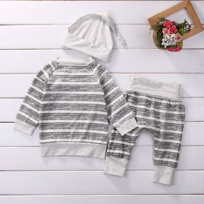 3Pcs/Set ! Baby Clothing Sets Autumn Baby Boys Clothes Infant Baby Striped Tops T-shirt+Pants Leggings 2pcs Outfits Set