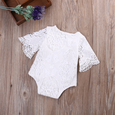 Lovely Gifts Baby Girls White ruffles Sleeve Romper Infant Lace Jumpsuit Clothes Sun suit Outfits