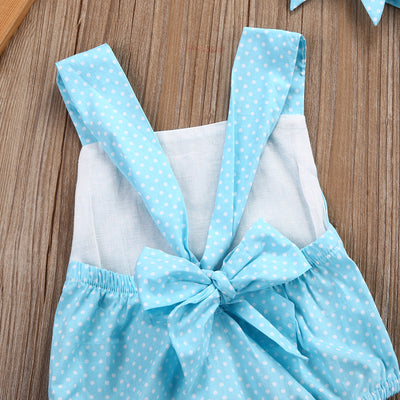2pcs Newborn Infant Baby Girl Kids Polka Dot Romper+Headband Set Sunsuits Clothes Outfits