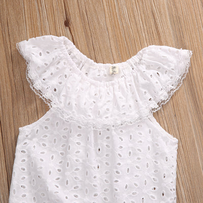 Newborns White Lace Baby Rompers Summer Infant Baby Girls Clothes Toddler Kids Jumpsuit Sunsuits Outfits Coveralls