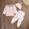 autumn baby girl clothes cotton Pink long sleeve t-shirt+pants +hat kids 3pcs suit baby boy clothing sets clothing