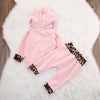 2pcs suit baby girl clothing sets born Baby Girls Pink Long Sleeve leopard Hoodie Sweatshirt+Pants Outfits Set