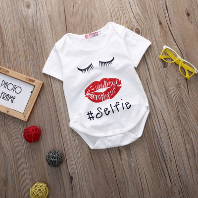 Newborn Infant Baby Boy Girl Lips Short Sleeve Romper Jumpsuit Outfits Clothes