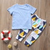 born Baby Boy Clothes Short Sleeve Cotton T-shirt Tops +Geometric Pant Outfit Toddler Kids Clothing