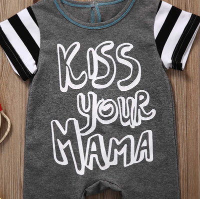 Newborn Baby Romper Summer Short Sleeve Cotton Rompers Kiss Your Mama Striped Jumpsuit Toddler Kids Casual Suit 0-18M