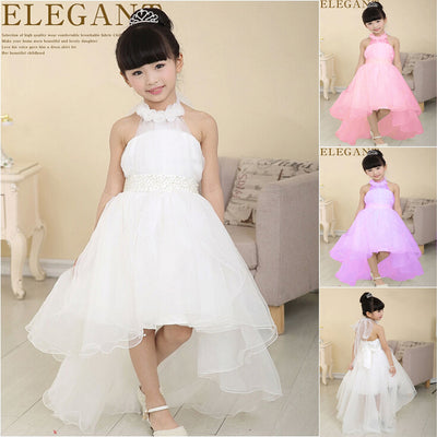 8047d6c4b5174 Girl Princess Ball Gown with flower white pearl belt baby Girls party wear  Dresses with long trailing wedding evening dress