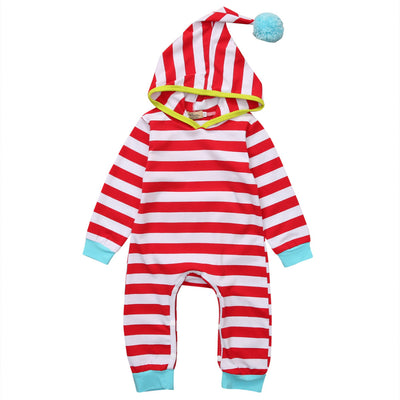 Red Color Newborn Baby Boy Girl Clothes Long Sleeve Striped Hooded Romper Jumpsuit Outfits Playsuit