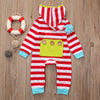Red Color born Baby Boy Girl Clothes Long Sleeve Striped Hooded Romper Jumpsuit Outfits Playsuit