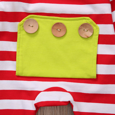 Red Color Newborn Baby Boy Girl Clothes Long Sleeve Striped Hooded Romper Jumpsuit Outfits Playsuits