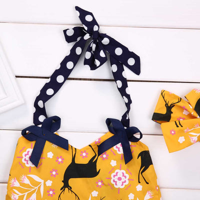 Newborn baby girls clothing set halter Vest Tops Shorts Pants +Headband Outfits Set Clothes