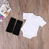 2pcs Outfits Baby Clothing Set Cute Newborn Baby Clothes Summer Short Sleeve Cotton Romper + Leg Warmer