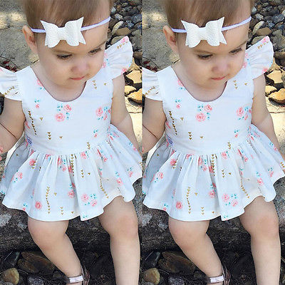 Cute Backless Heart Princess Girls Party Dress Newborn Baby Girl Dress Summer Ruffles Sleeve Cotton Dress Clothes