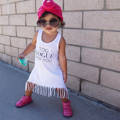 Summer Cotton Baby Kids Girls Sleeveless Dress Tassels Party Princess Casual Beach Dresses 1-6Y