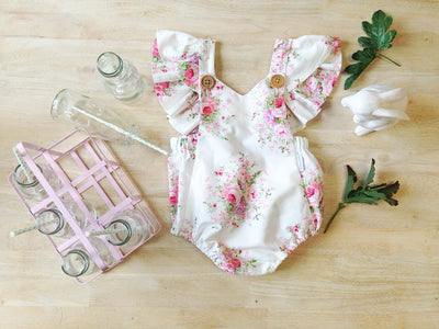 Cute Newborn Baby Girl V-neck Floral Romper Summer Princess Kids Jumpsuit Outfit Sun suit Clothes