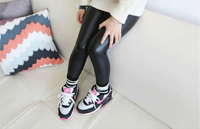 Fashion Girls leggings Black faux leather slim children leggings Baby kids High elasticity pants leggings 1-8Y
