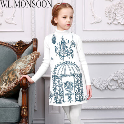 Girls Winter Dress Princess Costume Toddler Girls Dresses Kids Clothes Birdcage Print Robe