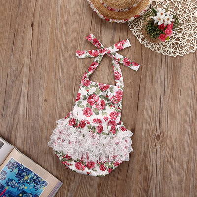 Ruffled Flower Baby Rompers Girl Baby Costumes Clothes Kid Girls Rose Flower Lace Jumpsuit