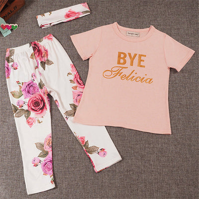 3Pcs Newborn Baby Girls Floral Outfit T shirt Pants Leggings Clothes Hairband