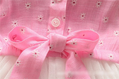 New Fashion Summer Pink Baby Toddler Girls Princess Party Bow Knot Lace Dress