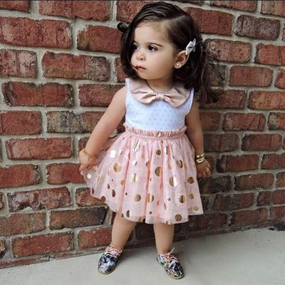 New Baby Girls Sequins Bow Neck Pink Tutu Kids Princess Summer Casual Tulle Dress