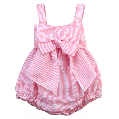 Pink Infant Kids Baby Girls Sleeveless Striped Bow Romper Wide shoulder straps Jumpsuit Outfits 0-24M