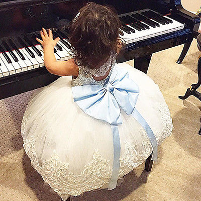 1 -10 years Lace Tutu Princess Baby Kids Girl Bow-knot Lace Floral Dress Christmas Wedding Party Formal Dresses