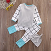 3Pcs/Set baby Boy girl clothes Plaid Pattern Long sleeve t shirt + pants+hat  3pcs suit newborn baby Boy girl clothing set