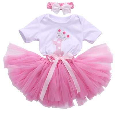3pcs Newborn Gift Clothing Set Baby Girls Birthday Cotton Mesh Ruffle Girl Christening Gowns Bodysuit Tutu Skirt Headband Set
