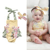 2Pcs/Set Infant Baby Girls Sleeveless Belt Romper +Headband Floral Jumpsuit Outfits Summer Sun-suit