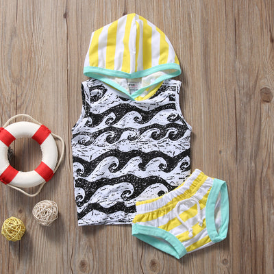 2PCS Baby Clothing Set Newborn Baby Boy Girl Clothes Summer Sleeveless Hooded Vest Tops +Short Bottom
