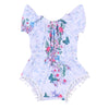 Lovely born Baby Girls Floral Romper Clothes Ruffles Sleeve Tassel ball Rompers Playsuit Toddler Kids Jumpsuit Outfit Sunsuit