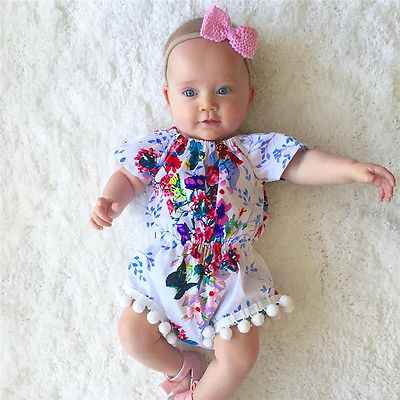 Lovely Newborn Baby Girls Floral Romper Clothes Ruffles Sleeve Tassel ball Rompers Play-suits Toddler Kids Jumpsuit Outfit Sunsuits