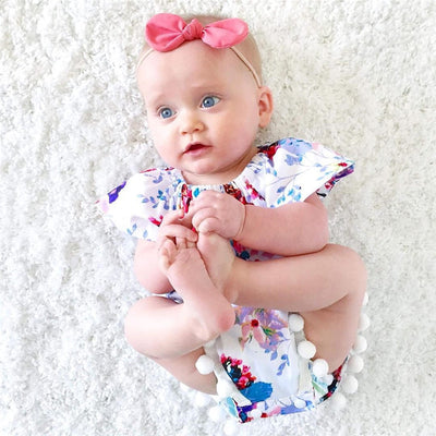 Lovely Newborn Baby Girls Floral Romper Clothes Ruffles Sleeve Tassel ball Rompers Playsuit Toddler Kids Jumpsuit Outfit Sunsuit