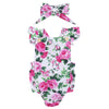 Floral Baby Girls Clothes Summer Short Sleeve Romper Babies Button Jumpsuit + Headband 2PCS Set Outfit Tracksuit Sunsuits