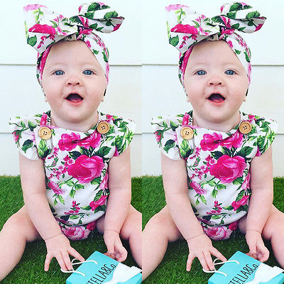 New Floral Baby Girls Clothes Summer Short Sleeve Romper Babies Button Jumpsuit + Headband 2PCS Set Outfit Tracksuit Sunsuits