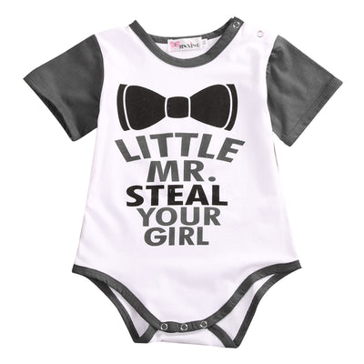 Cute Newborn Baby Boy Girl Romper Clothes Summer Short Sleeve Cotton Play suit Letter printed Jumpsuit Outfit 0-18M