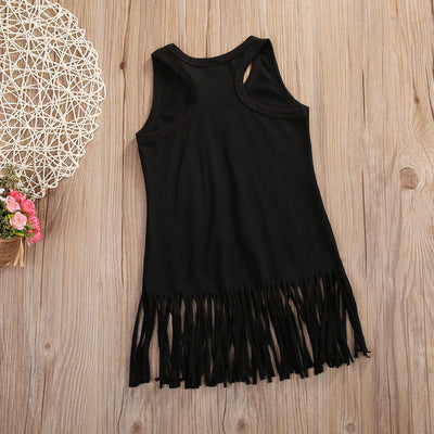 Toddler Kids Baby Girl Summer Clothes Sleeveless Cotton Beach Tassel Tops T-Shirt Dress 0-6Y