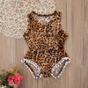 born Baby Girl Leopard Print Romper born Baby Girl Tassel Sleeveless Romper Summer Sun suit Kids Jumpsuit