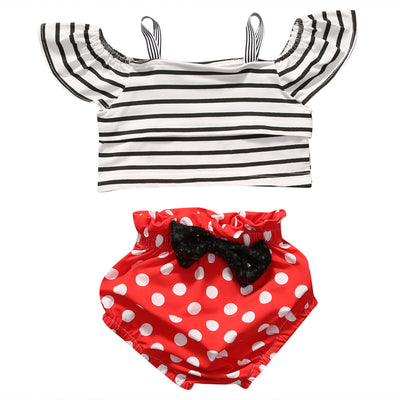2PCS Newborn Baby Girl Clothing Set Summer Stripe Ruffled Sleeve Top +Dot Bloomer Short Outfit Children Clothes