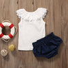 born Baby Clothes Summer Pure White Cotton T shirt + Shorts Bottom Outfits Sun suit Tracksuit