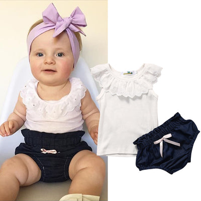 Newborn Baby Clothes Summer Pure White Cotton T shirt + Shorts Bottom Outfits Sun suit Tracksuit
