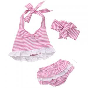 3PCS Set Newborn Baby Girl Clothes Summer Sleeveless Pink Striped Romper +Bloomers Bottom Outfit Toddler Kids Clothing