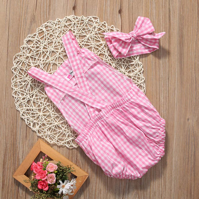 Newborn Baby Girl Pink Striped Clothes Set Cute Baby Princess Outfits Romper Jumpsuit +Headband 2PCS Summer Suit