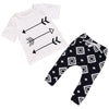 2PCS Newborn Baby Clothes Set Summer Short Sleeve arrow T-shirt Tops +Geometric Pant Trouser Outfit Kids Clothing