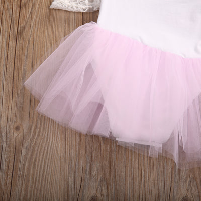 Newborn Pink Princess Dress Summer Lace Sleeve Tutu Romper Dress Clothes Toddler Kids Party Dresses Outfits